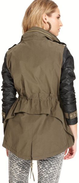 Steve Madden Faux Leather Sleeve Anorak Jacket in Green (Olive/Black