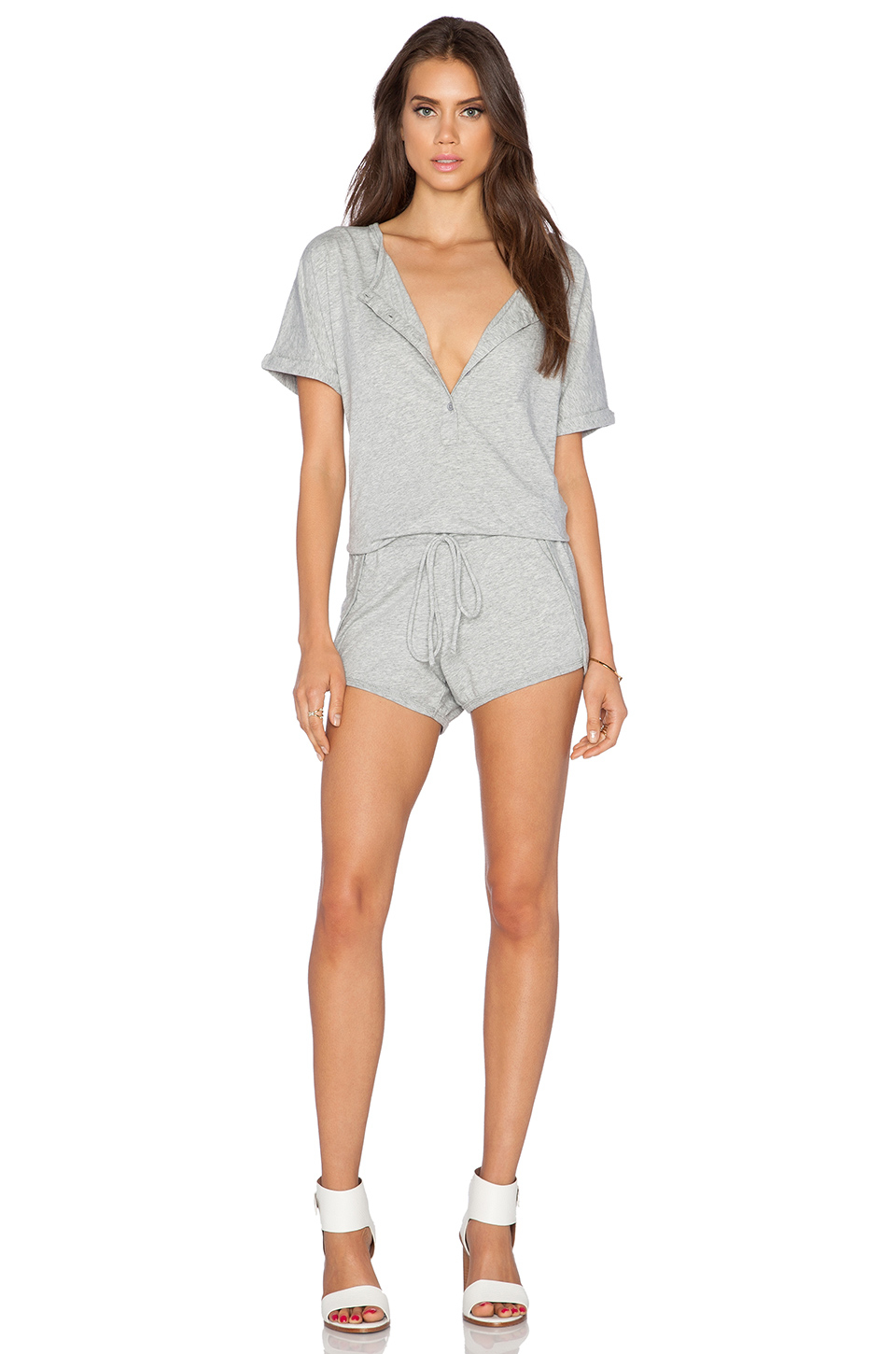 7818b0e22f84 Lyst - Bobi Supreme Jersey Short Sleeve Romper in Gray