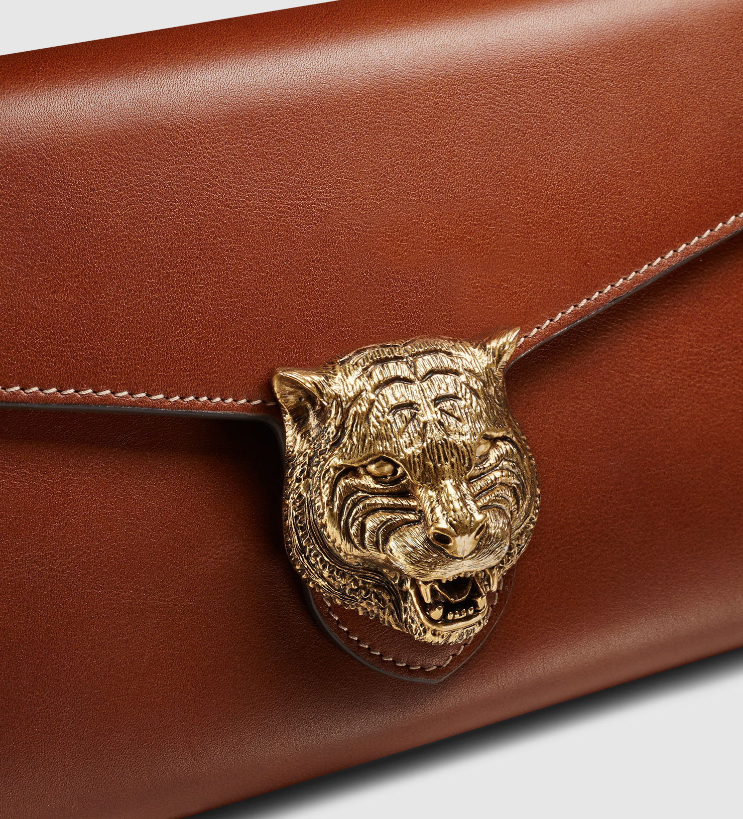 d1a300002cf00d Gucci Animalier Leather Chain Wallet in Metallic - Lyst