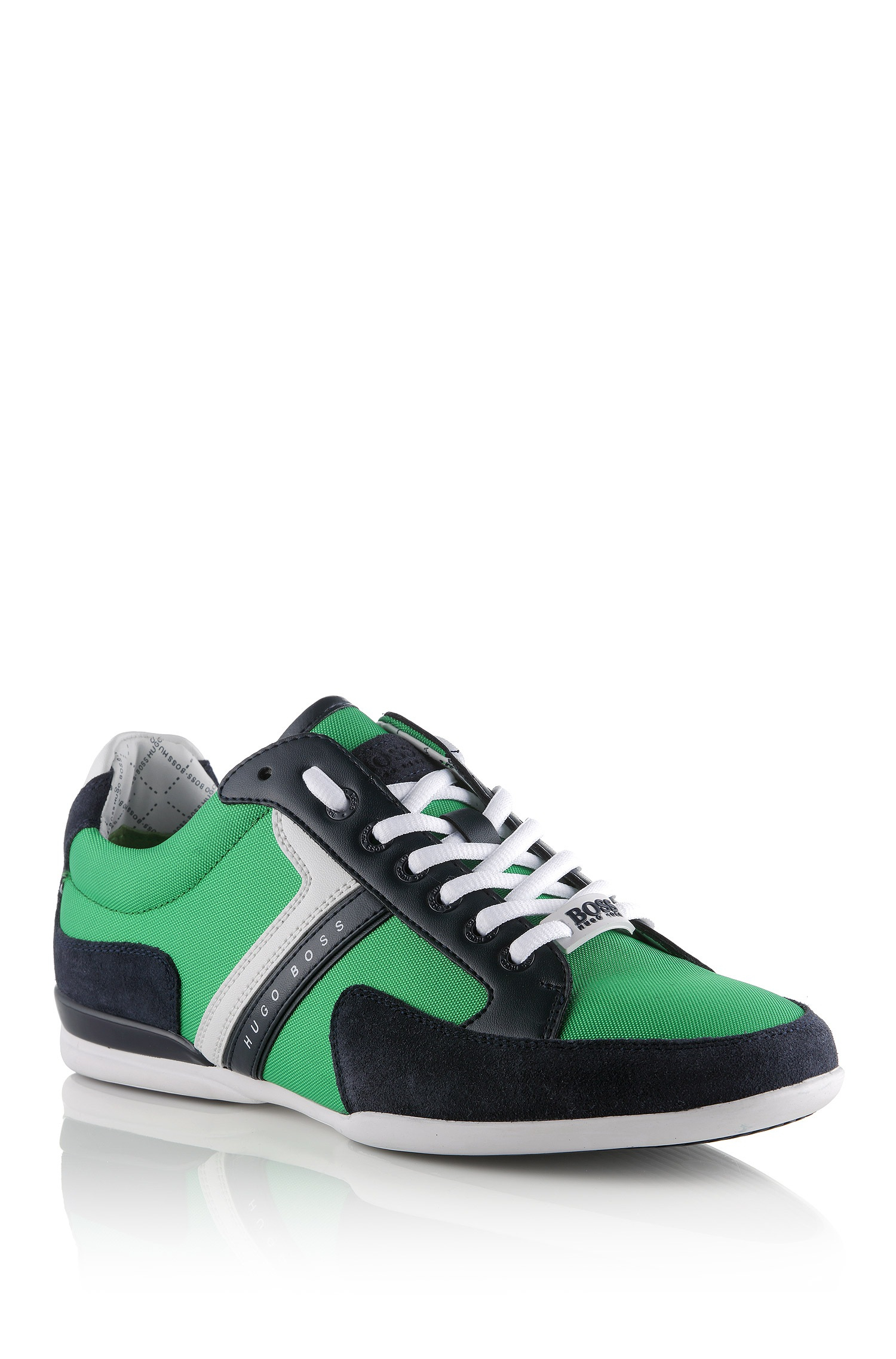 boss green spacit leather and suede sneakers in green for men lyst. Black Bedroom Furniture Sets. Home Design Ideas