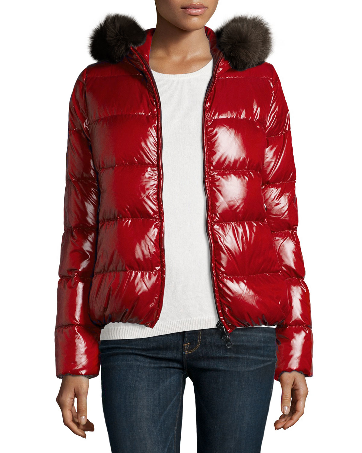 Lyst Duvetica Adhara Quilted Fox Fur Jacket In Red