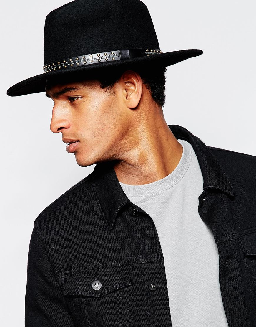 Lyst - ASOS Fedora Hat In Black Felt With Wide Brim And Studded Band in  Black for Men 08999a121ed