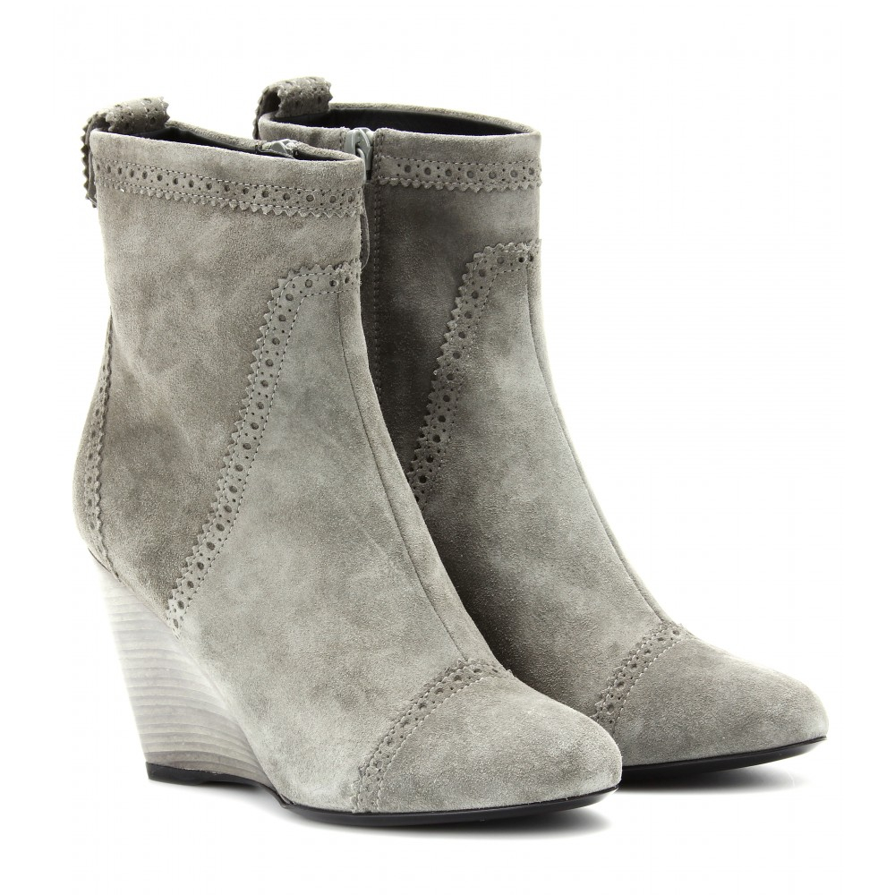 Balenciaga Suede brogue wedge ankle boots Sale New Arrival YPi6WCt