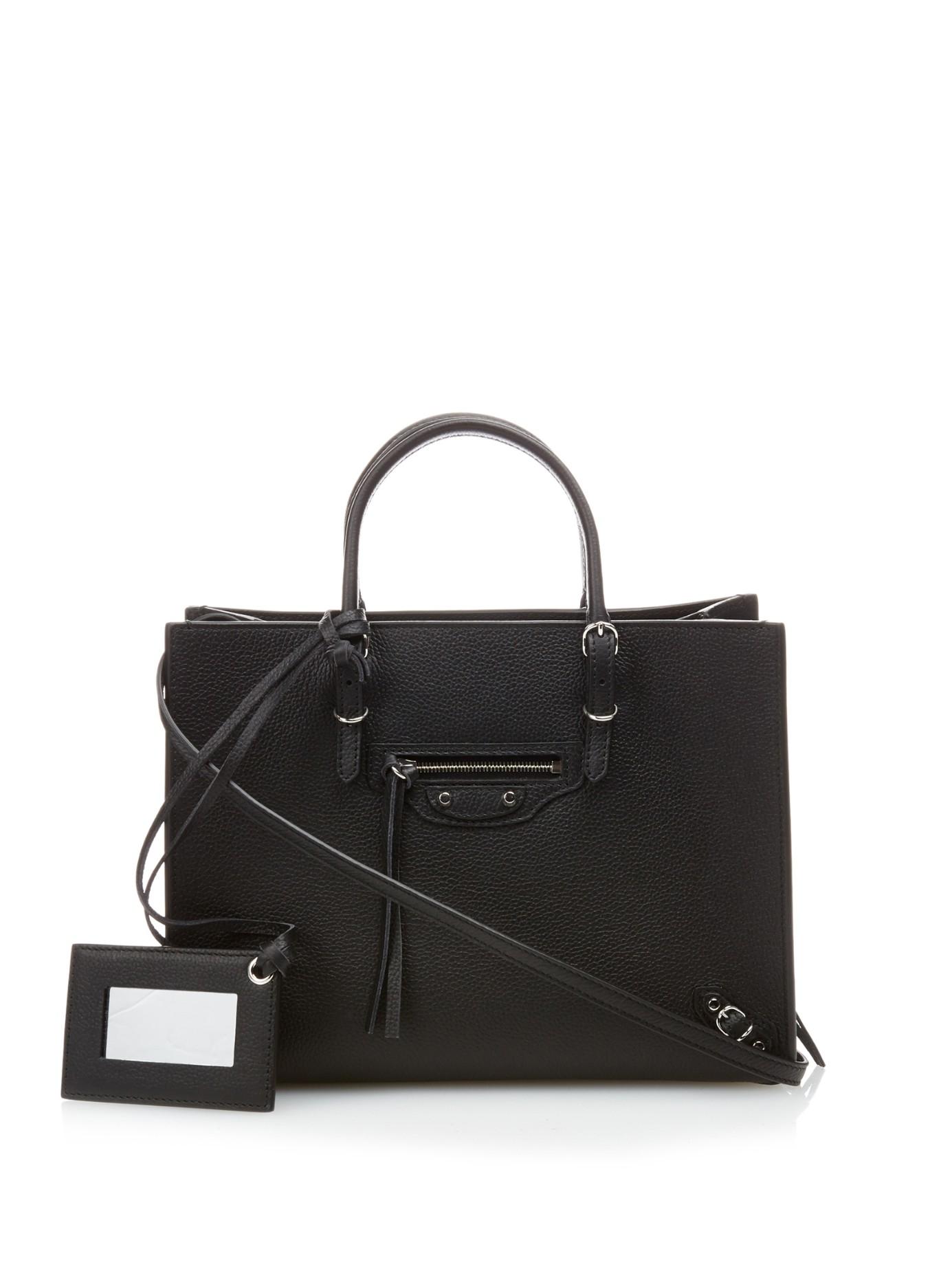 689f24320d5 Balenciaga Papier A6 Grained-leather Cross-body Bag in Black - Lyst