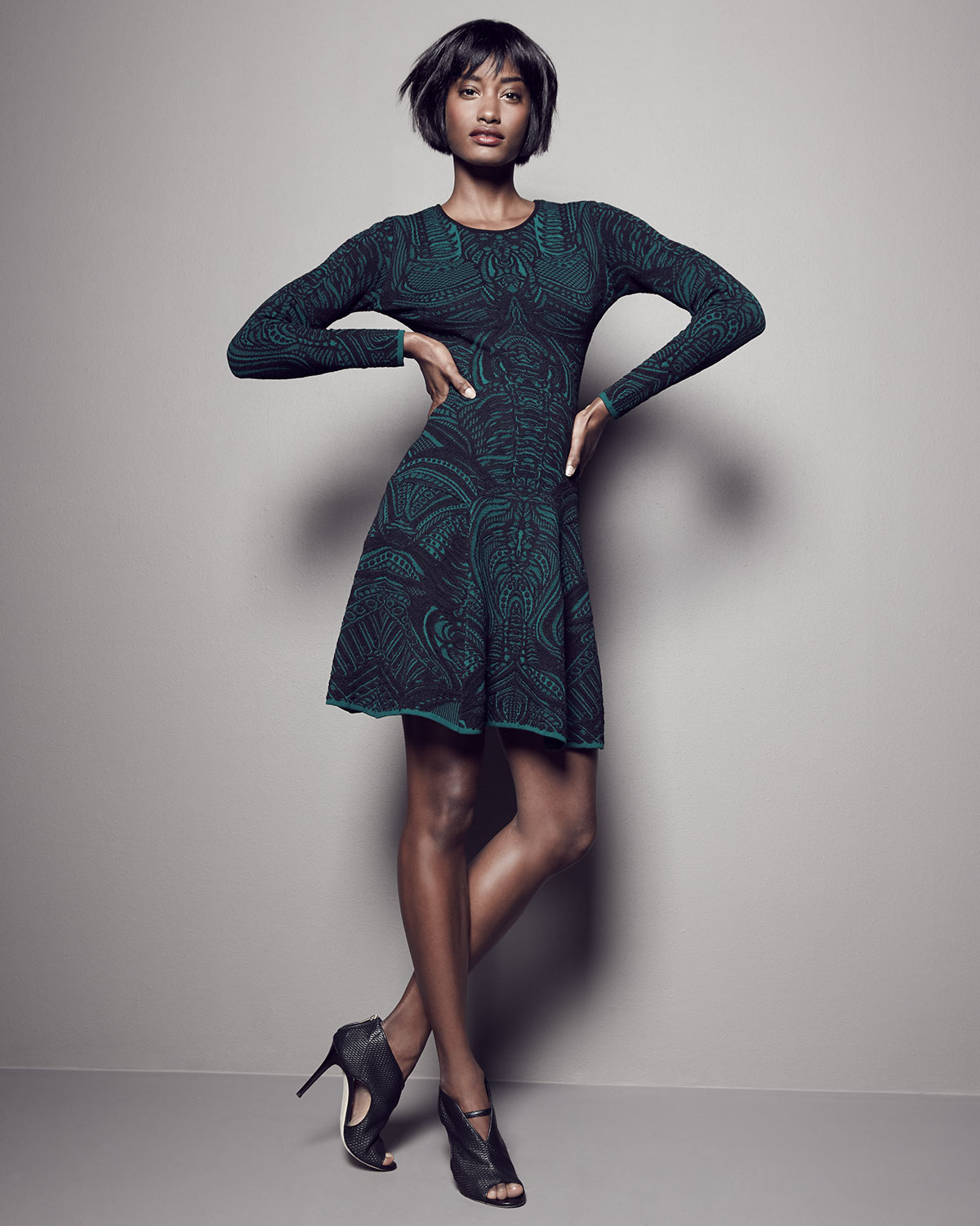 Lyst - RVN Long-sleeve Lace-print Fit   Flare Dress in Green b9c8d6988