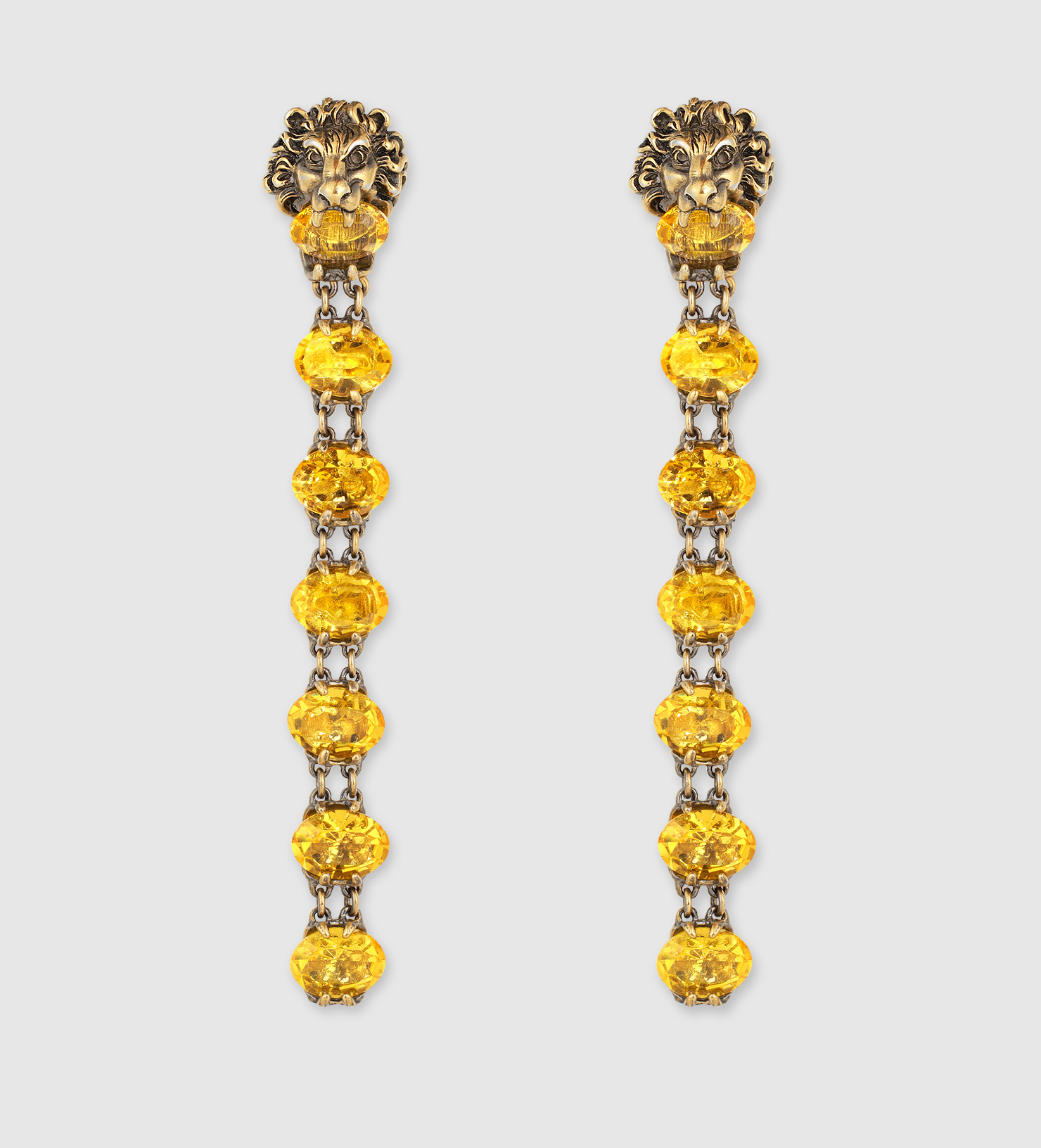 Lyst - Gucci Lion Head Earrings With Crystals in Metallic