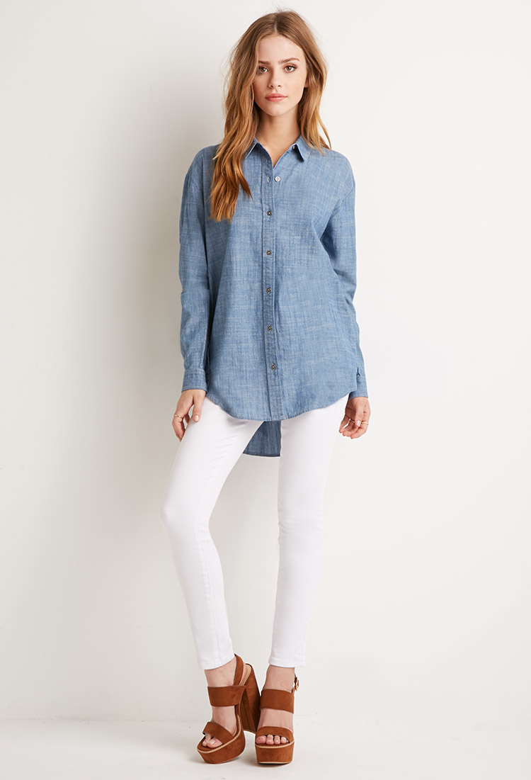 Lyst forever 21 chambray pocket shirt in blue for Chambray jeans