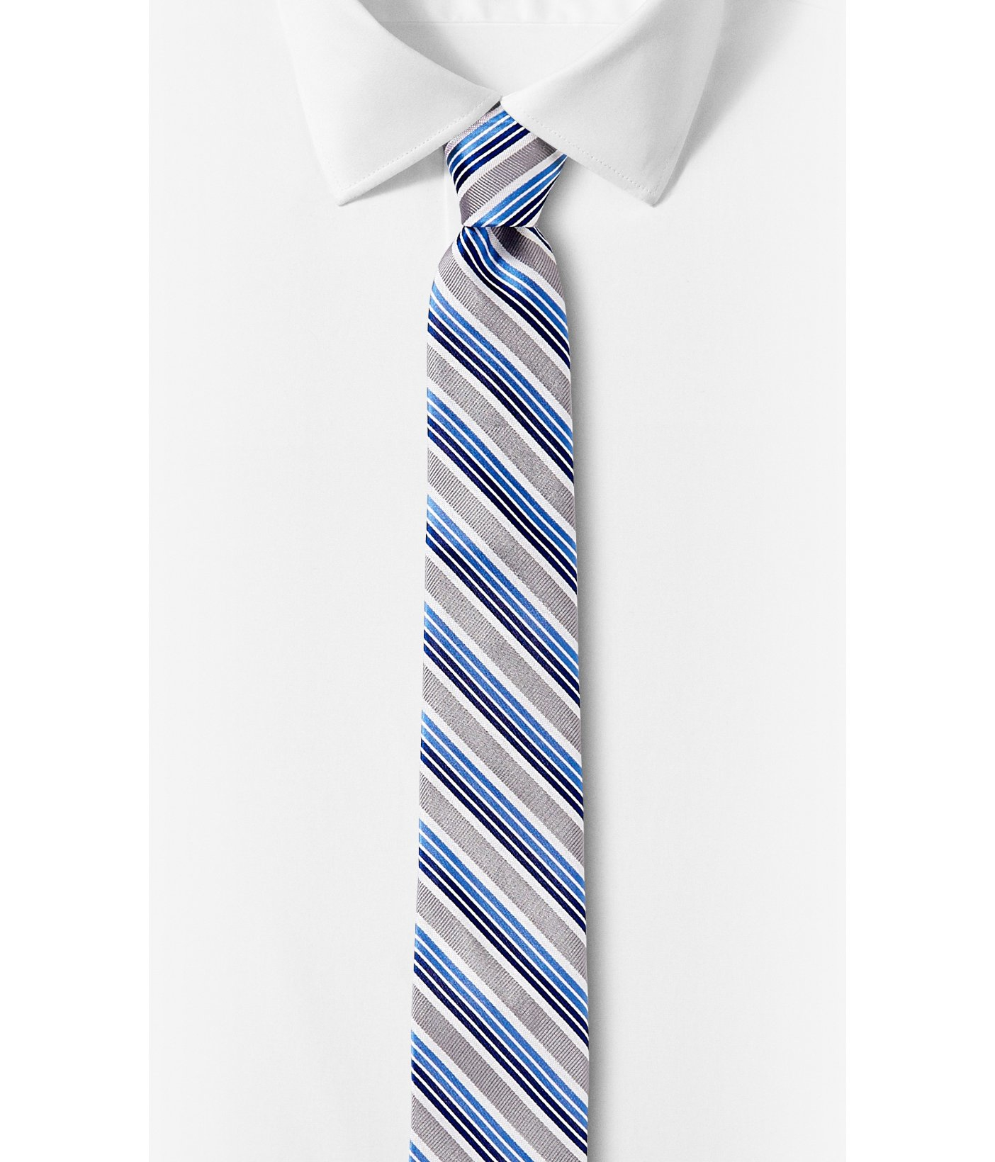 express mixed bright stripe narrow silk tie in blue for