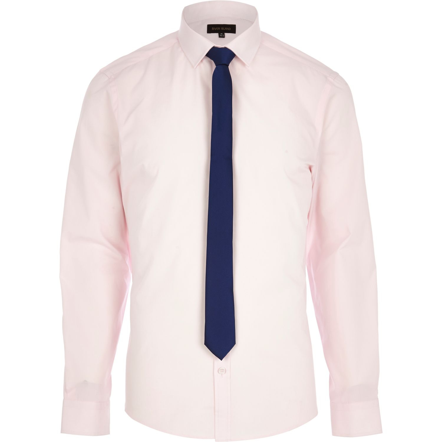 Lyst River Island Light Pink Long Sleeve Shirt With Tie