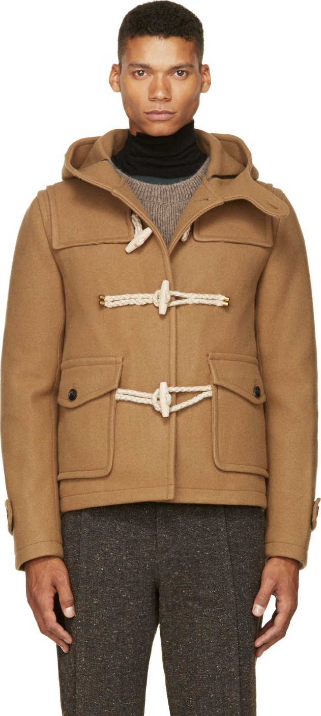 Kolor Camel Tan Wool and Cashmere Duffle Coat in Natural for Men