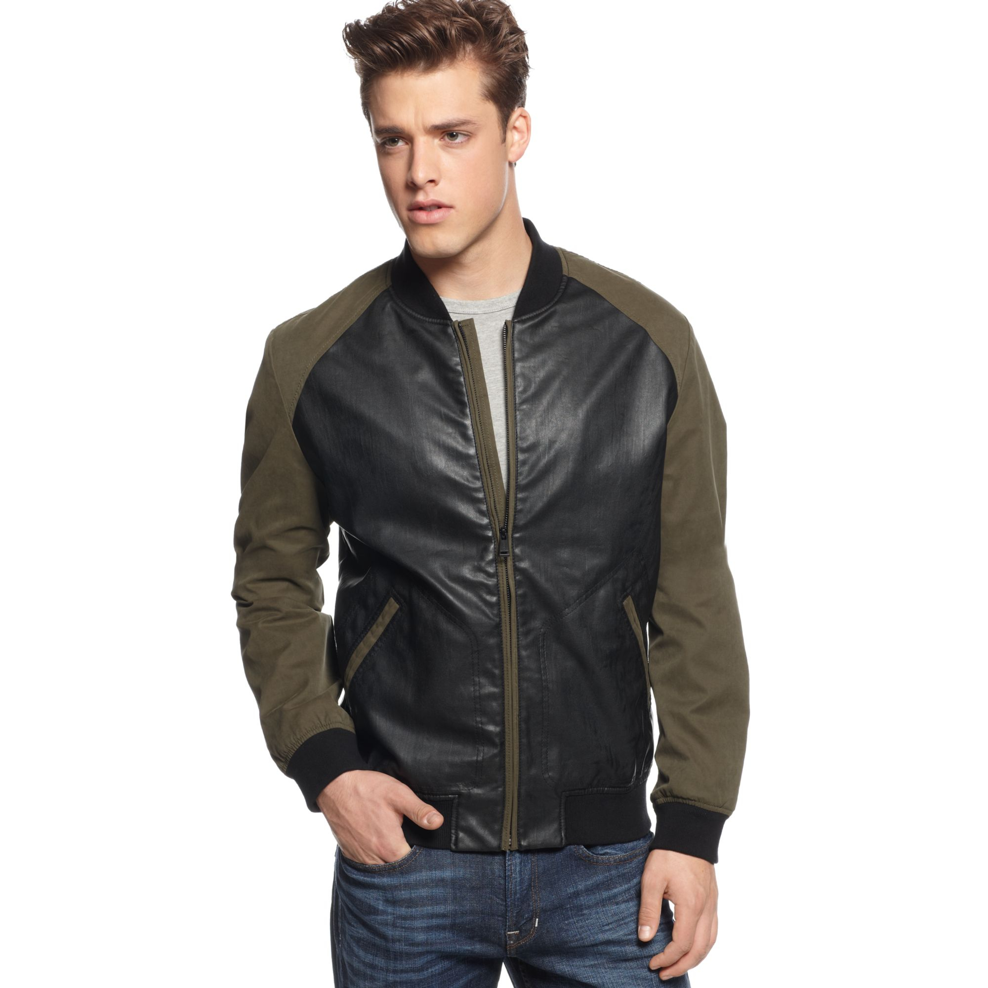 Guess Coated Bomber Jacket In Green For Men Lyst