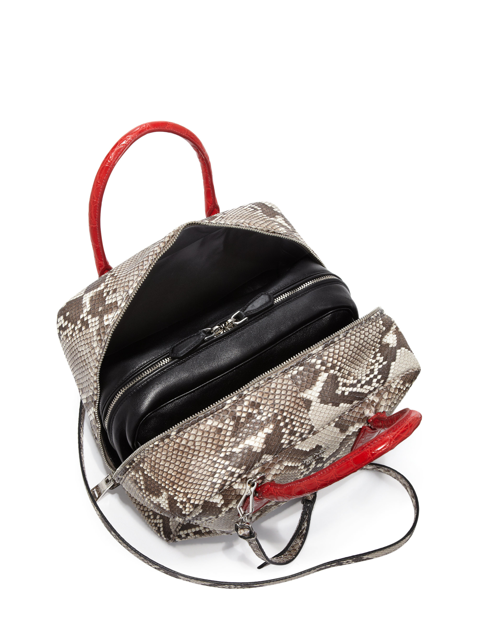 Prada Python \u0026amp; Crocodile Inside Bag in Red (natural-red) | Lyst