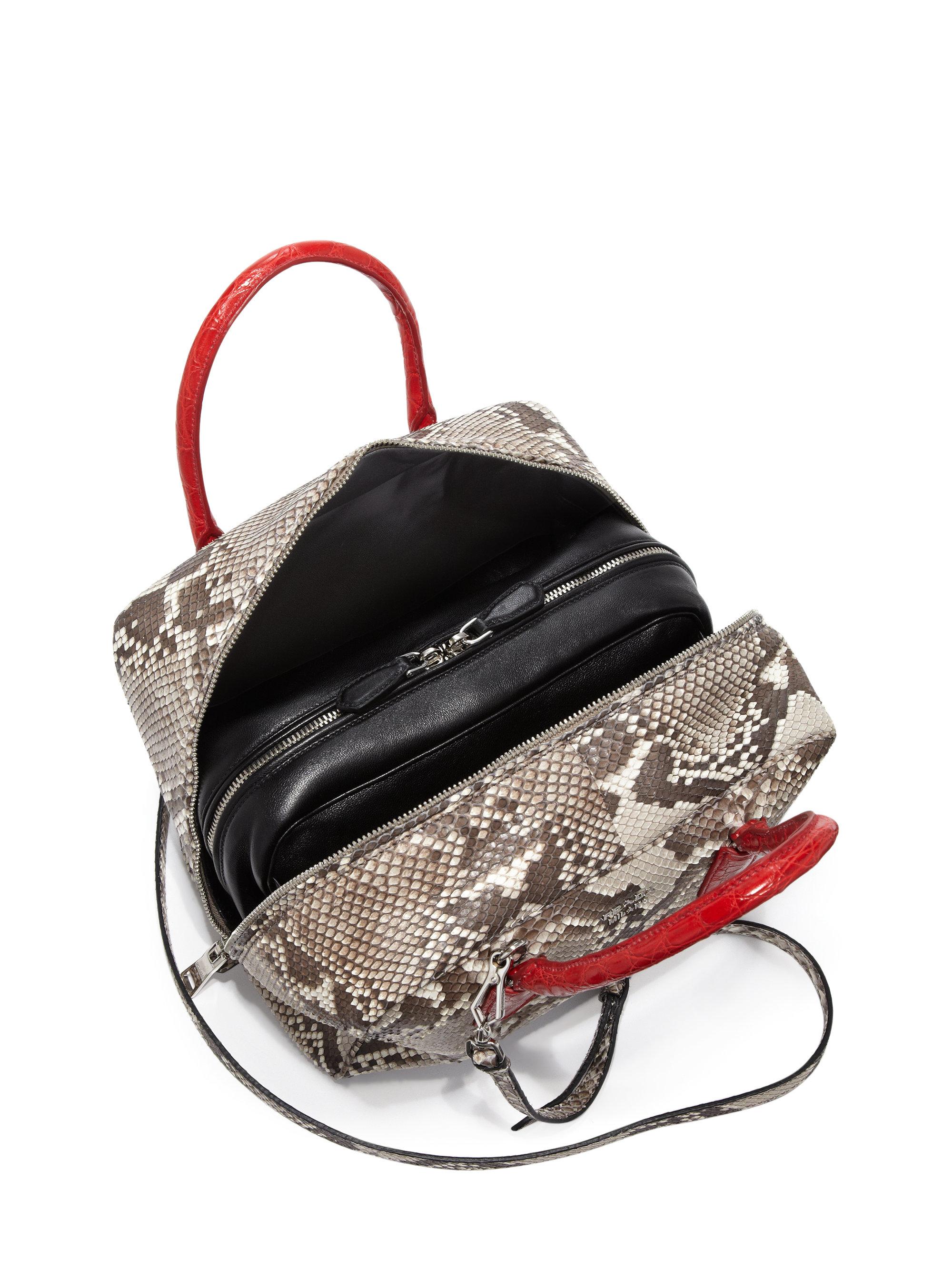 Prada Python \u0026amp; Crocodile Inside Bag in Red (natural-red) | Lyst