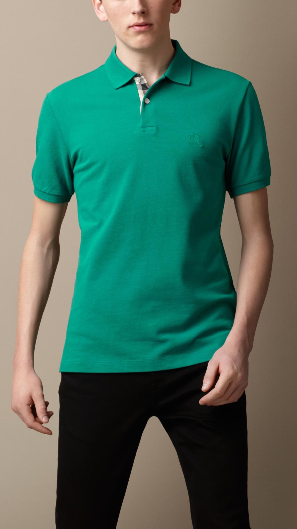 Lyst burberry check placket polo shirt in green for men for Aqua blue mens dress shirt