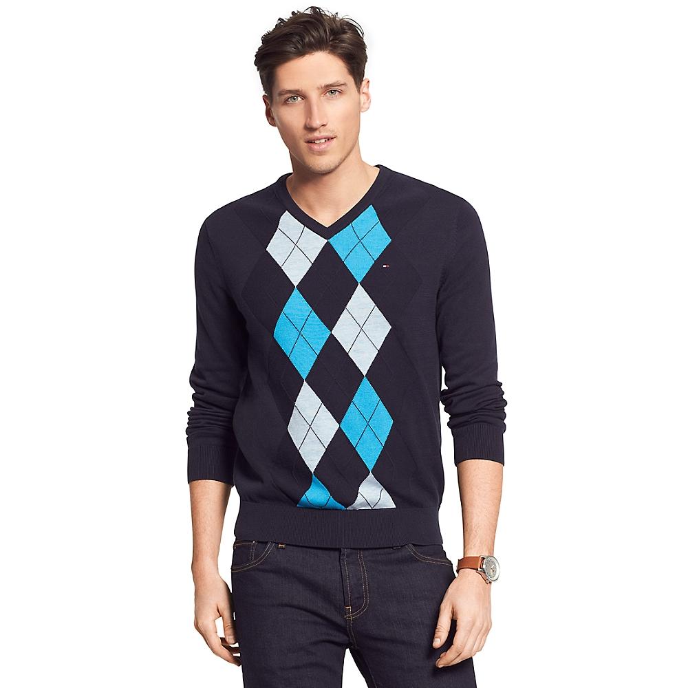tommy hilfiger argyle v neck sweater in blue for men navy. Black Bedroom Furniture Sets. Home Design Ideas