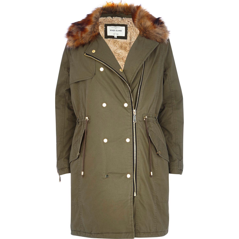 River island Khaki Faux Fur Collar Parka Jacket in Green   Lyst