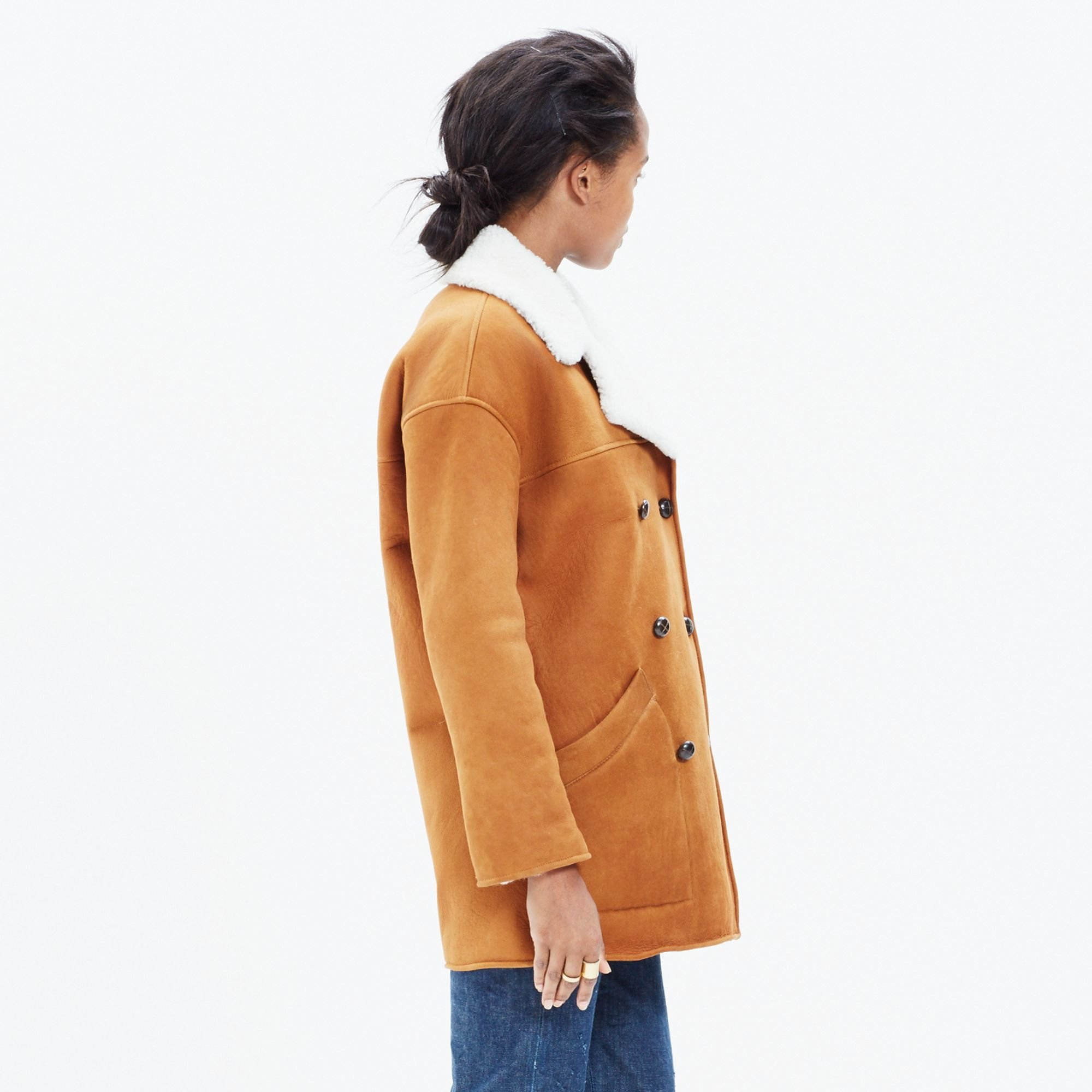 Madewell Shearling Car Coat in Natural | Lyst