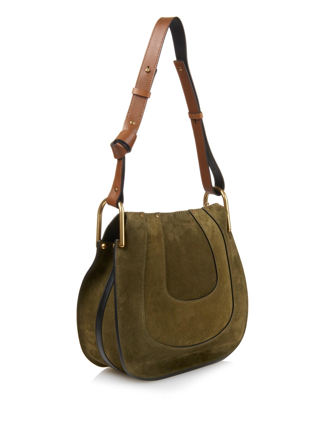 replica chloe marcie - Chlo�� Hayley Hobo Suede Shoulder Bag in Green (KHAKI) | Lyst
