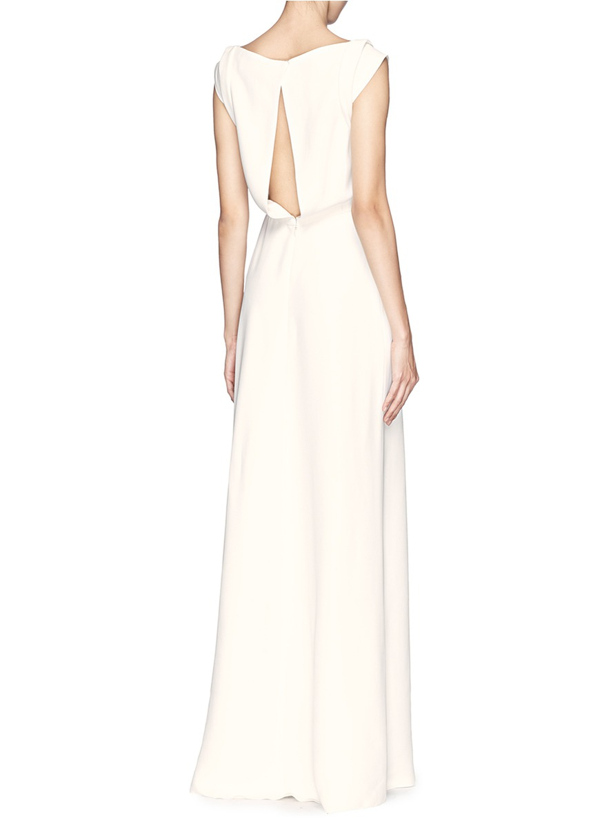 Lyst - Victoria beckham Drape Open Back Crepe Gown in White 1cae31b84