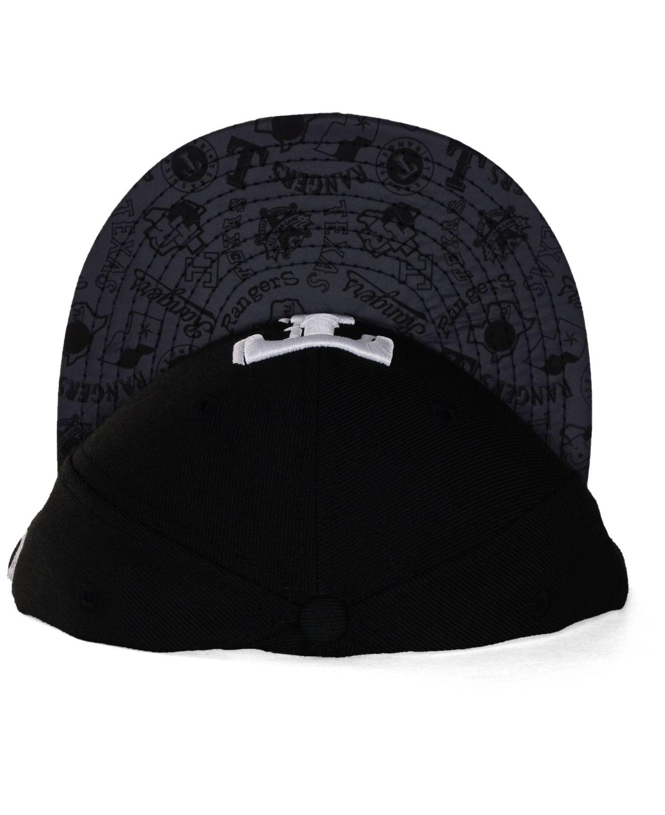96dbfe6f55c ... netherlands lyst ktz texas rangers reflective viz 59fifty cap in black  for men 409c2 ff2ce