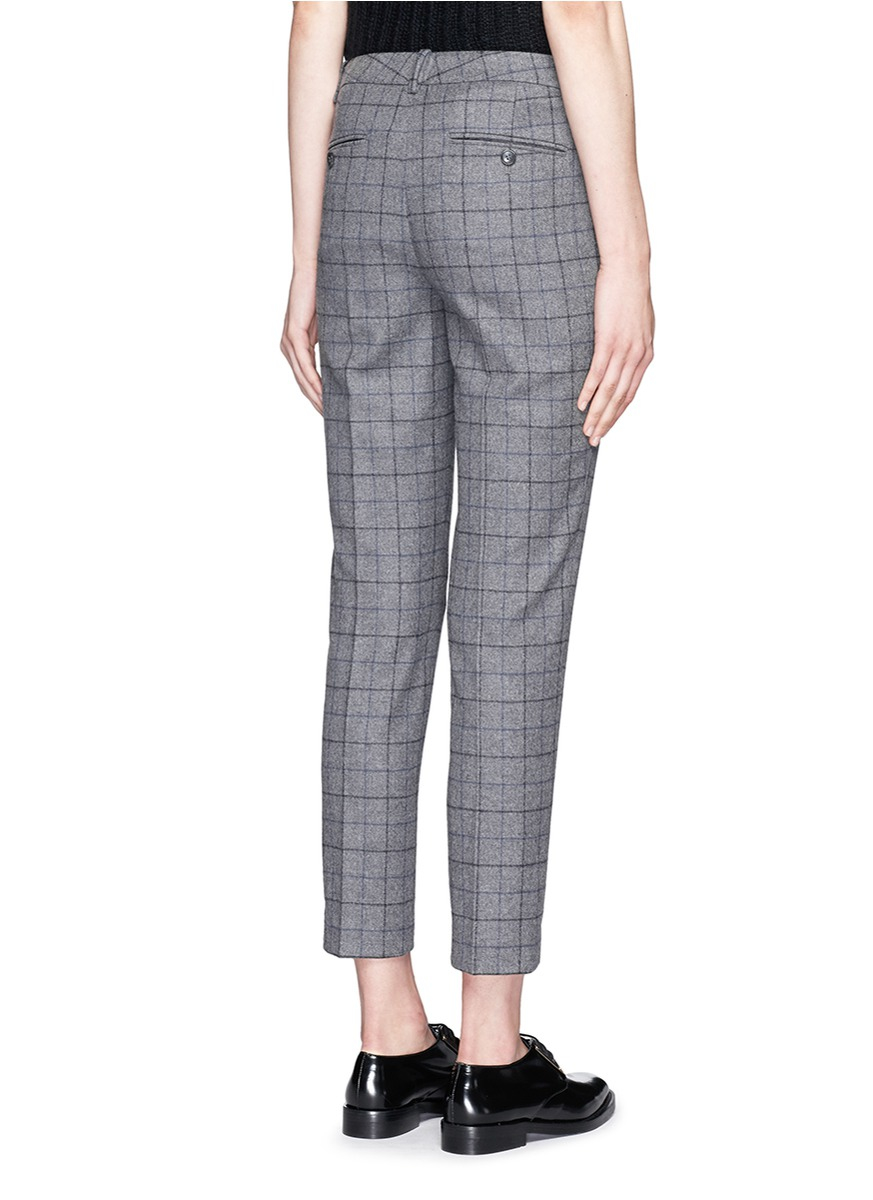 Theory 'treeca Cl' Windowpane Check Flannel Pants in Gray | Lyst