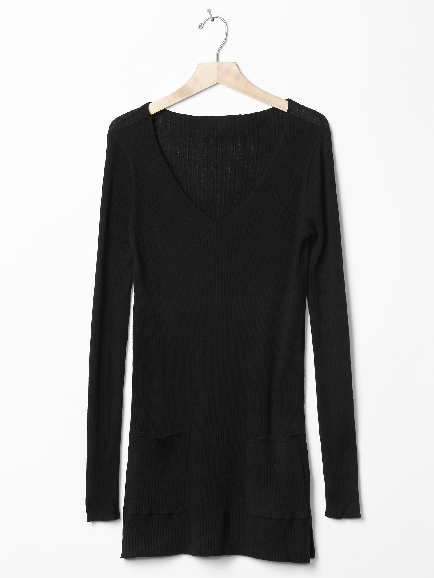Gap Pure Body Ribbed Tunic Sweater In Black True Black