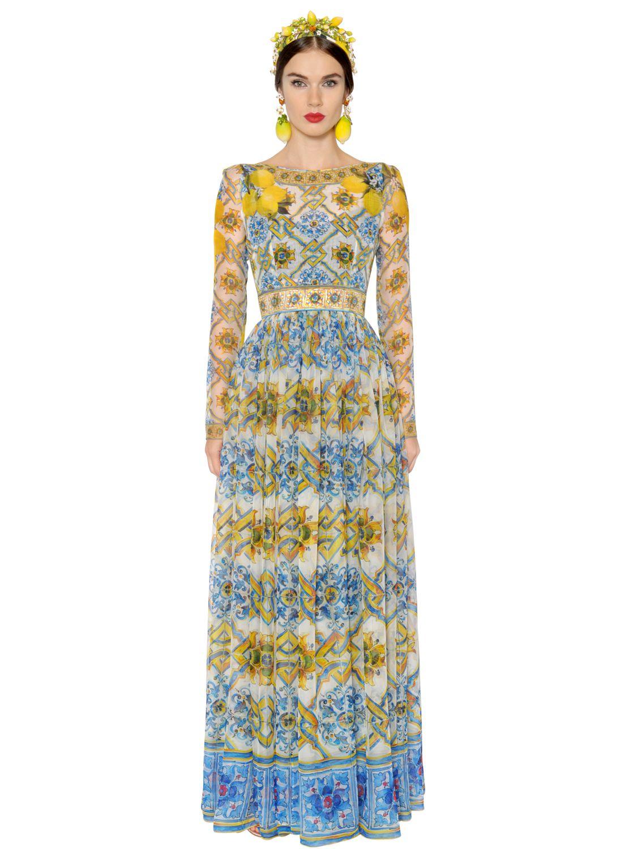 Lyst Dolce Amp Gabbana Maiolica Printed Silk Chiffon Dress