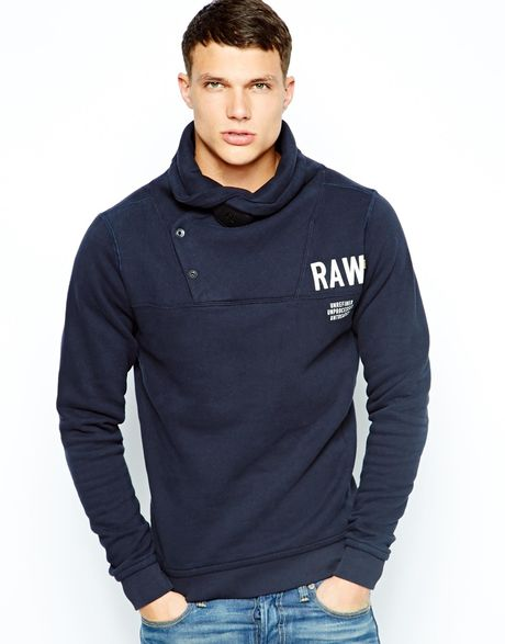 star raw g star shawl sweatshirt ace deluxe turtle raw logo in blue. Black Bedroom Furniture Sets. Home Design Ideas