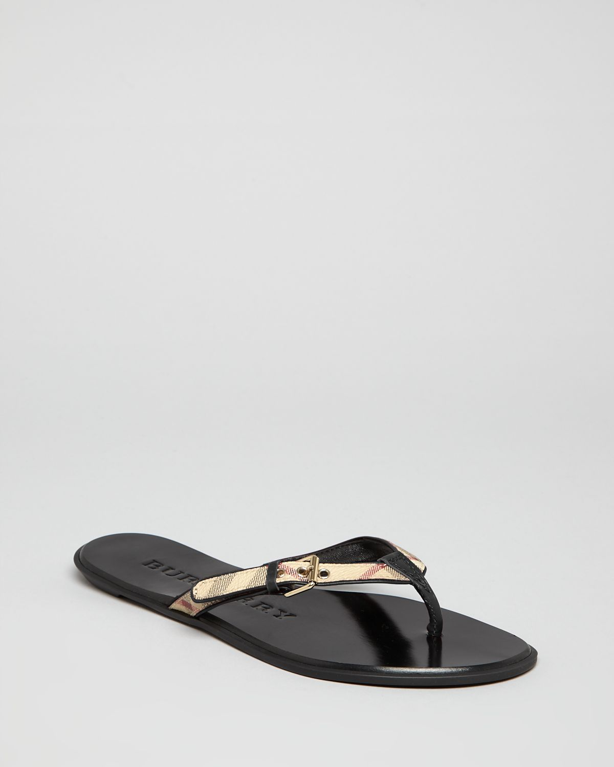 Lyst Burberry Flip Flop Sandals Parsons Check Thong In Black
