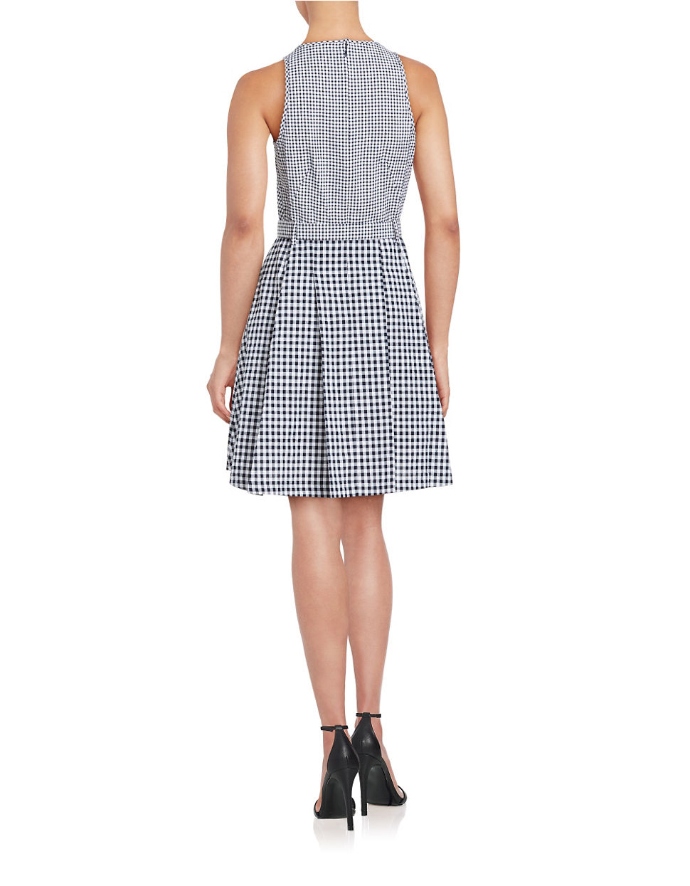 michael michael kors belted gingham dress in gray lyst