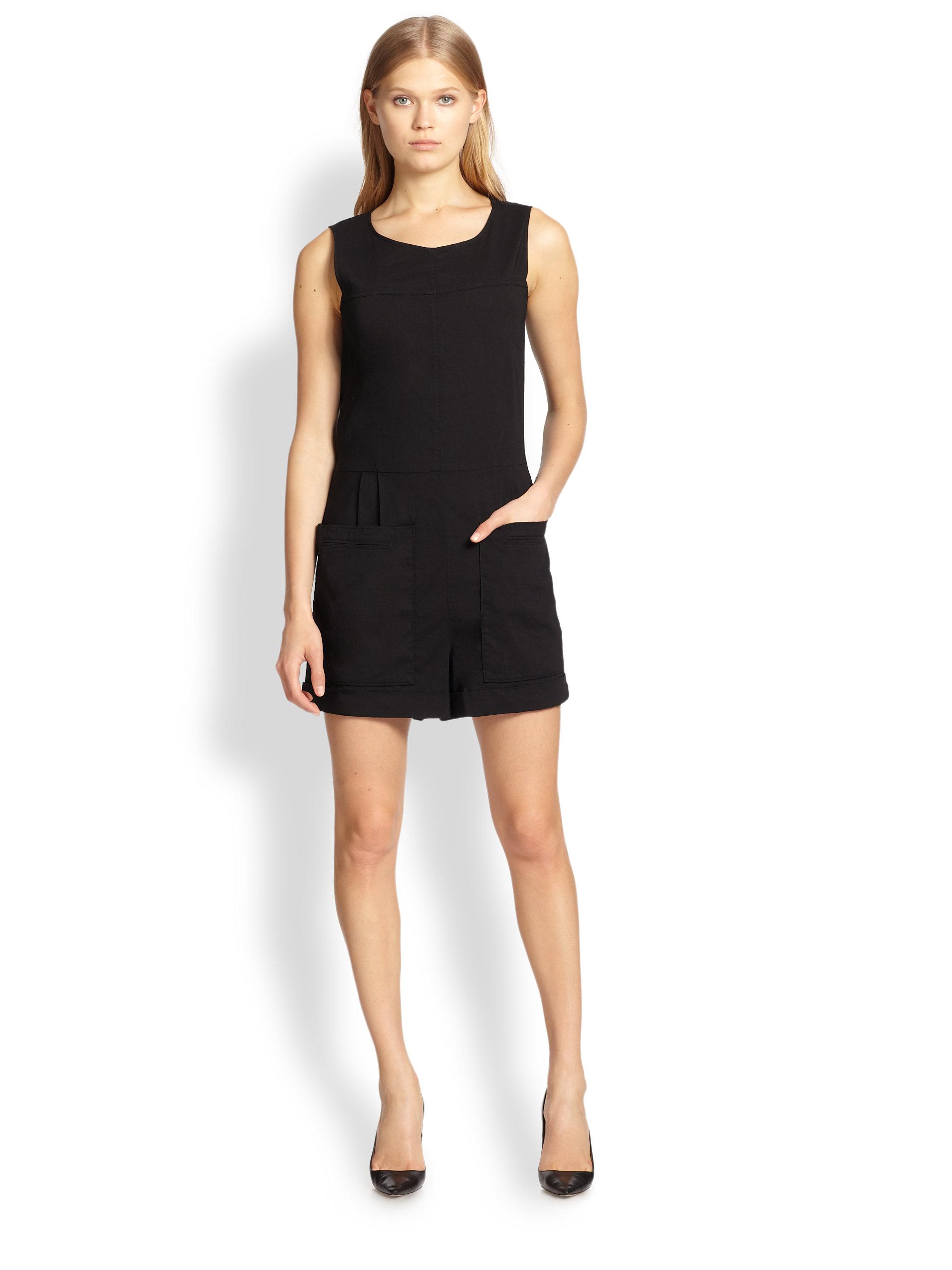Theory Hadrine Crunch Short Jumpsuit in Black | Lyst