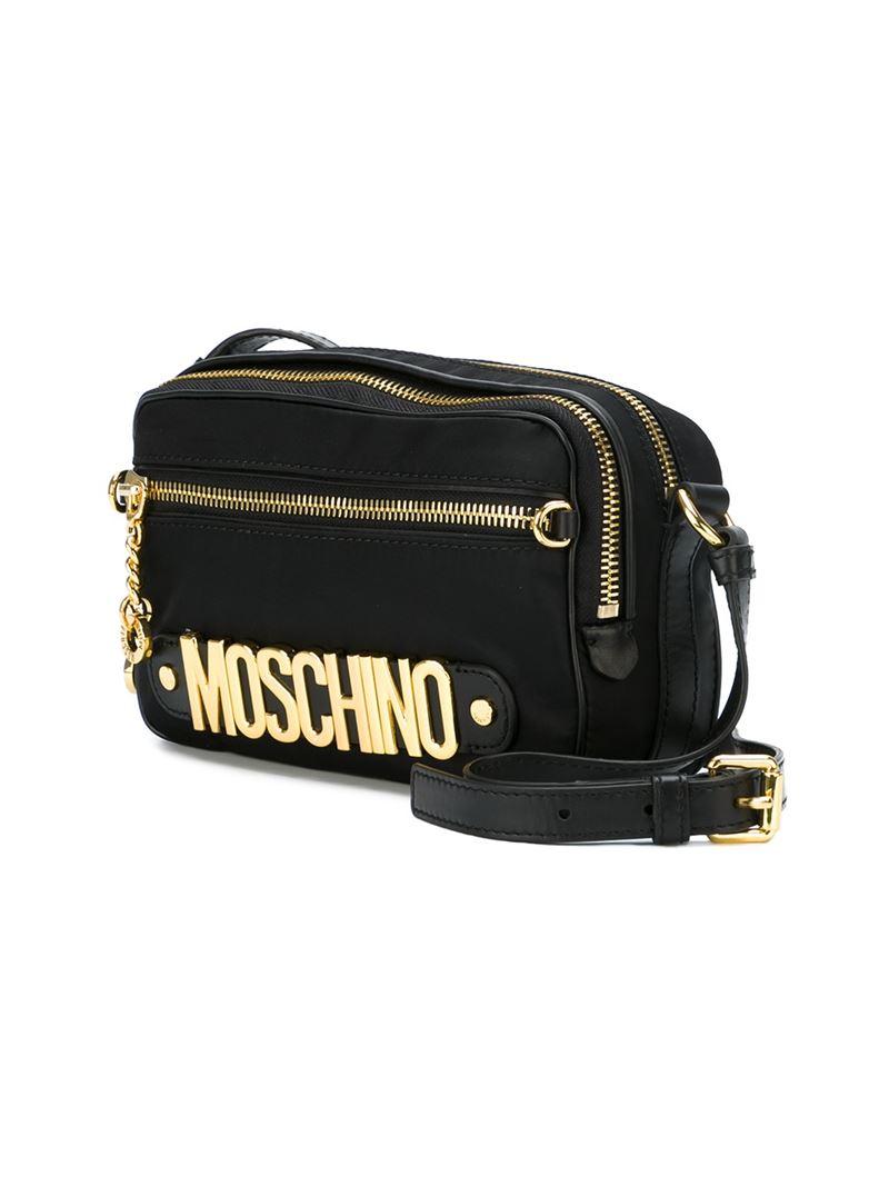 f6a051b9d3 Moschino Logo Crossbody Bag in Black - Lyst