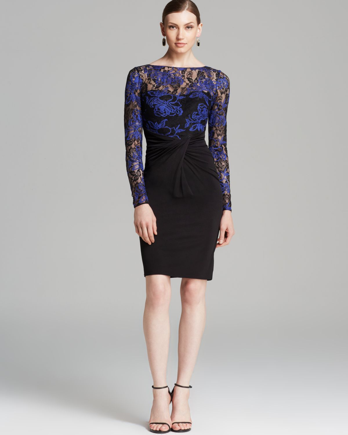 David Meister Dress Lace Illusion Neck Tattoo In Blue Lyst