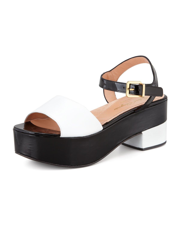 0c1b732ce87 Lyst - Robert Clergerie Ekora Colorblock Patent Flatform Sandal in Black