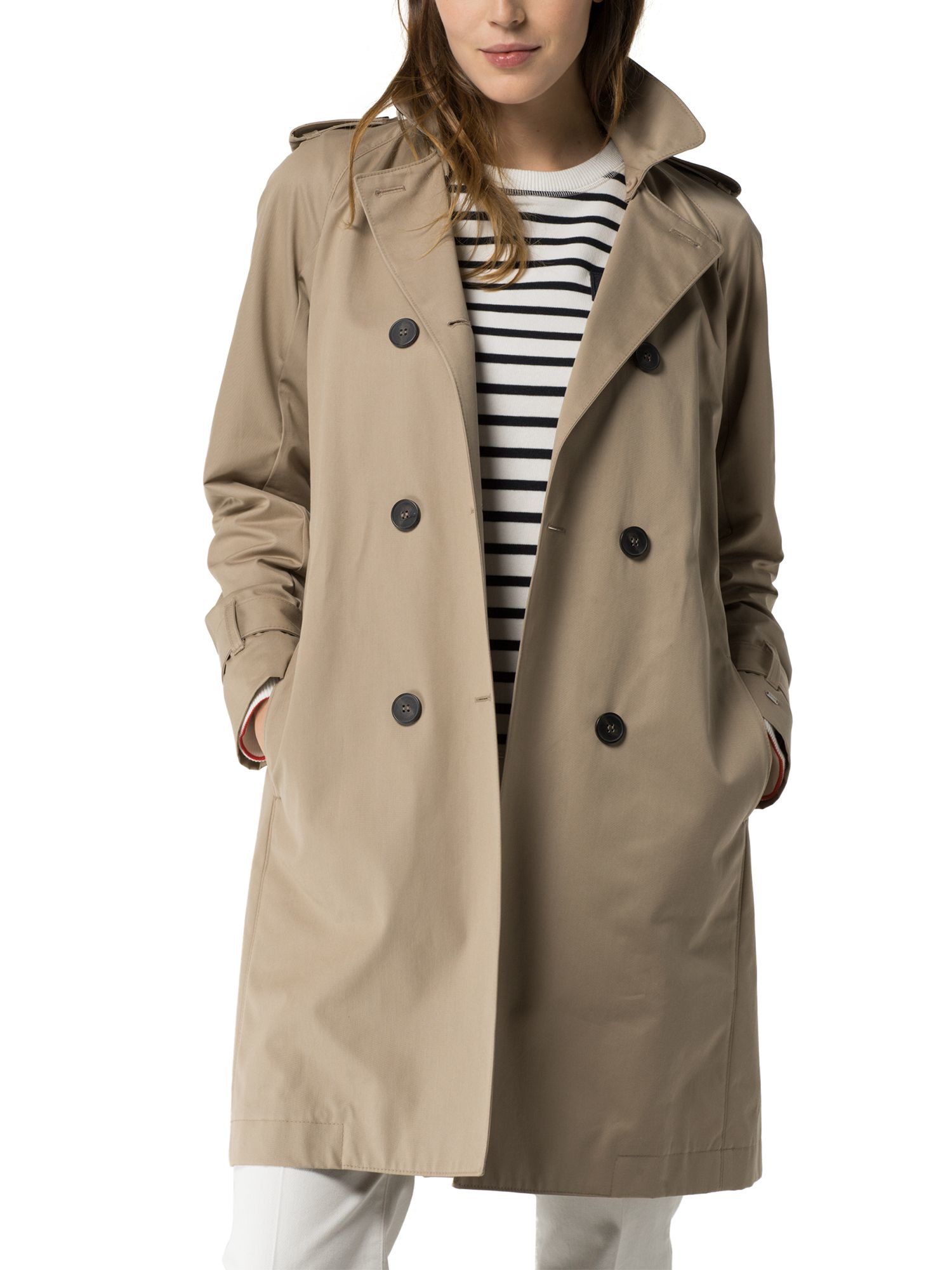 tommy hilfiger city cotton trench coat in natural lyst. Black Bedroom Furniture Sets. Home Design Ideas