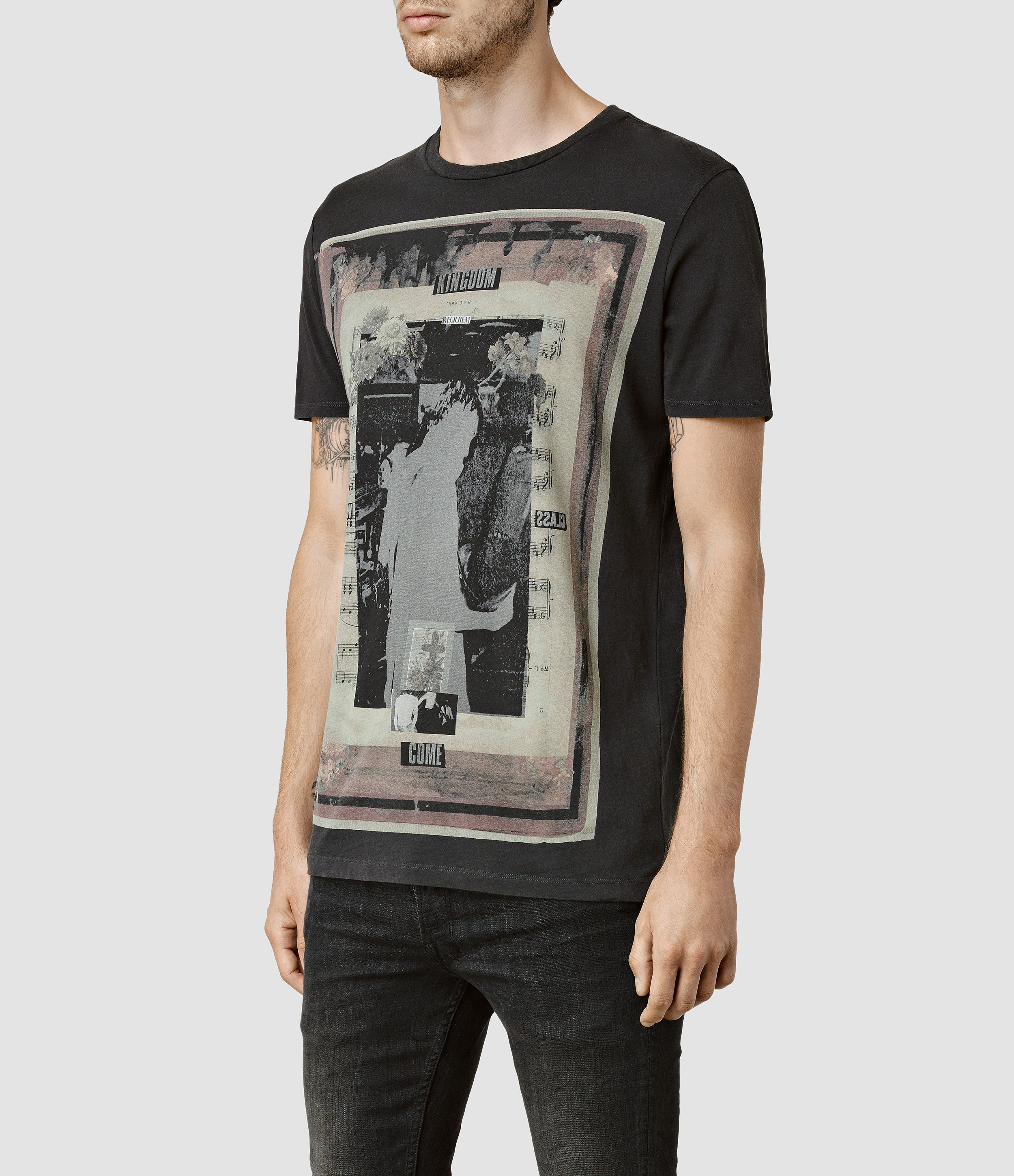 5e55c8e200 AllSaints Kingdom Crew T-shirt in Black for Men - Lyst