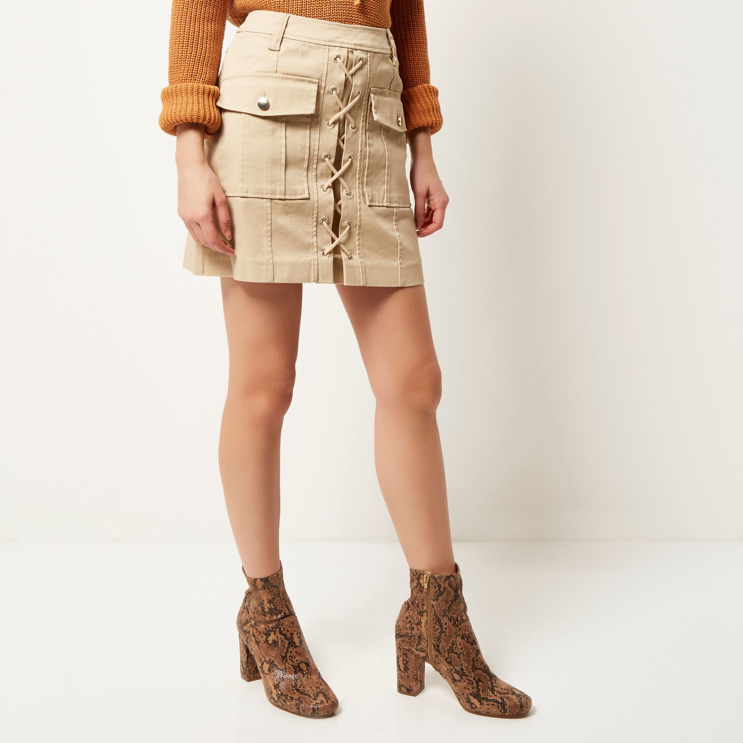 River island Beige Lace-up Utility Mini Skirt in Natural | Lyst