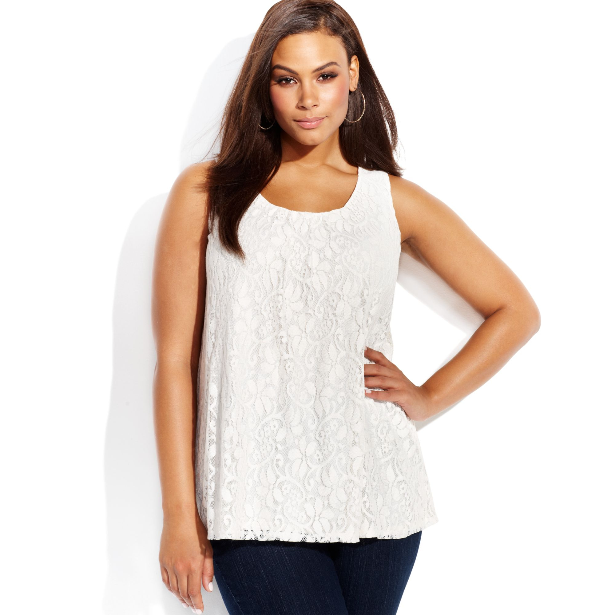 06222c791464d Lyst - INC International Concepts Plus Size Sleeveless Lace Tank Top ...