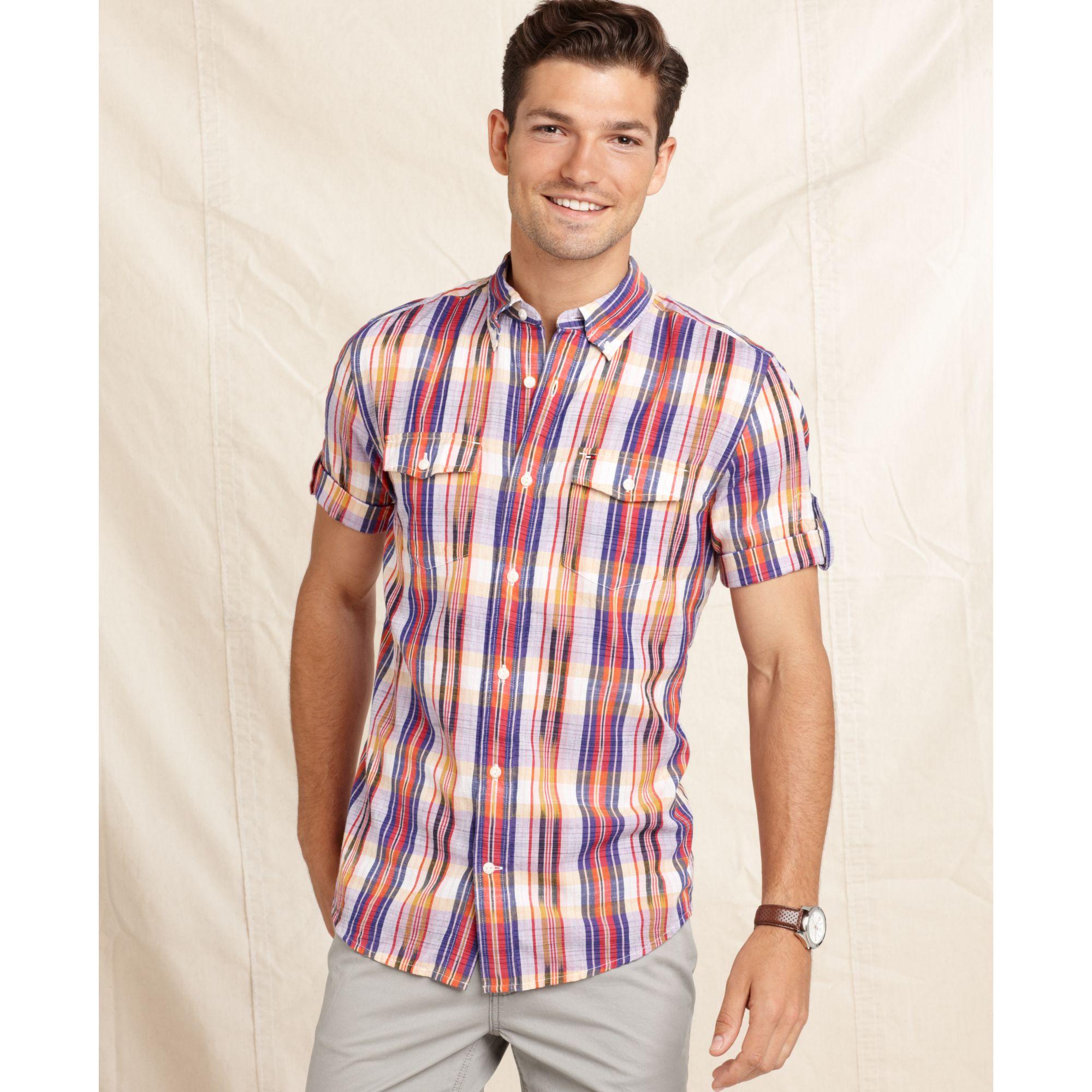 Tommy Hilfiger Slimfit Short Sleeve Gideon Shirt In Purple