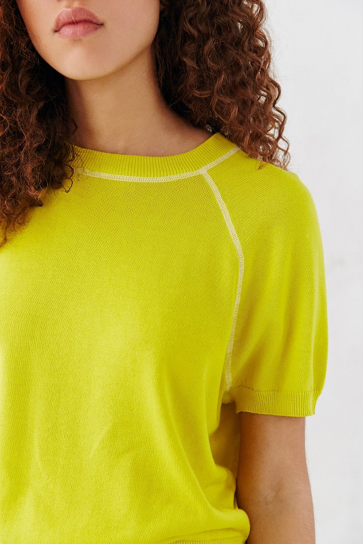 Bdg Short Sleeve Raglan Sweater in Yellow | Lyst