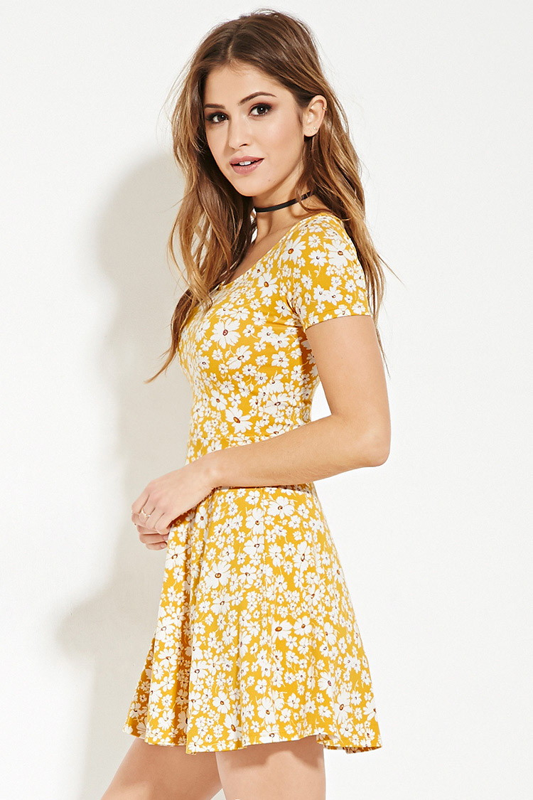 Lyst Forever 21 Floral Print Skater Dress In Yellow