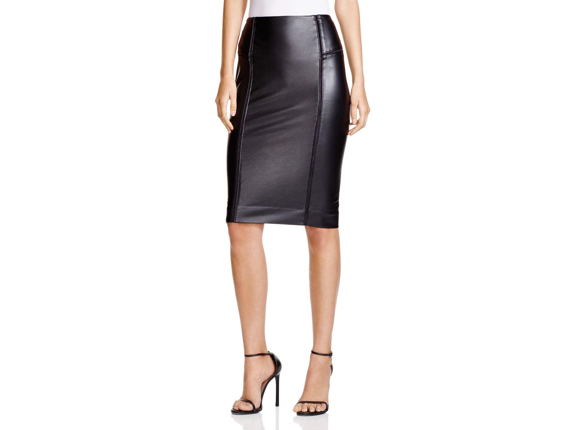 Lyssé Faux Leather Pencil Skirt in Black | Lyst