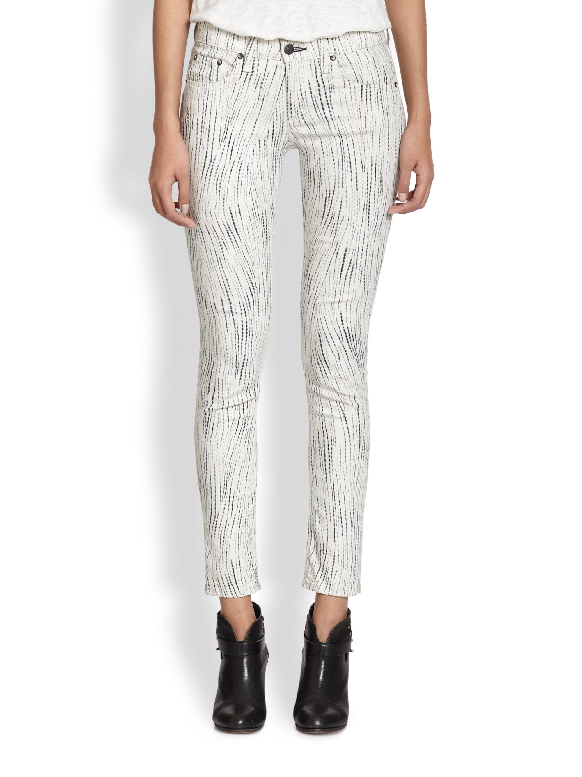 Rag & bone Printed Skinny Jeans in White | Lyst