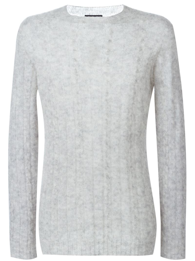 Laneus Fine Cable Knit Sweater in Gray for Men | Lyst