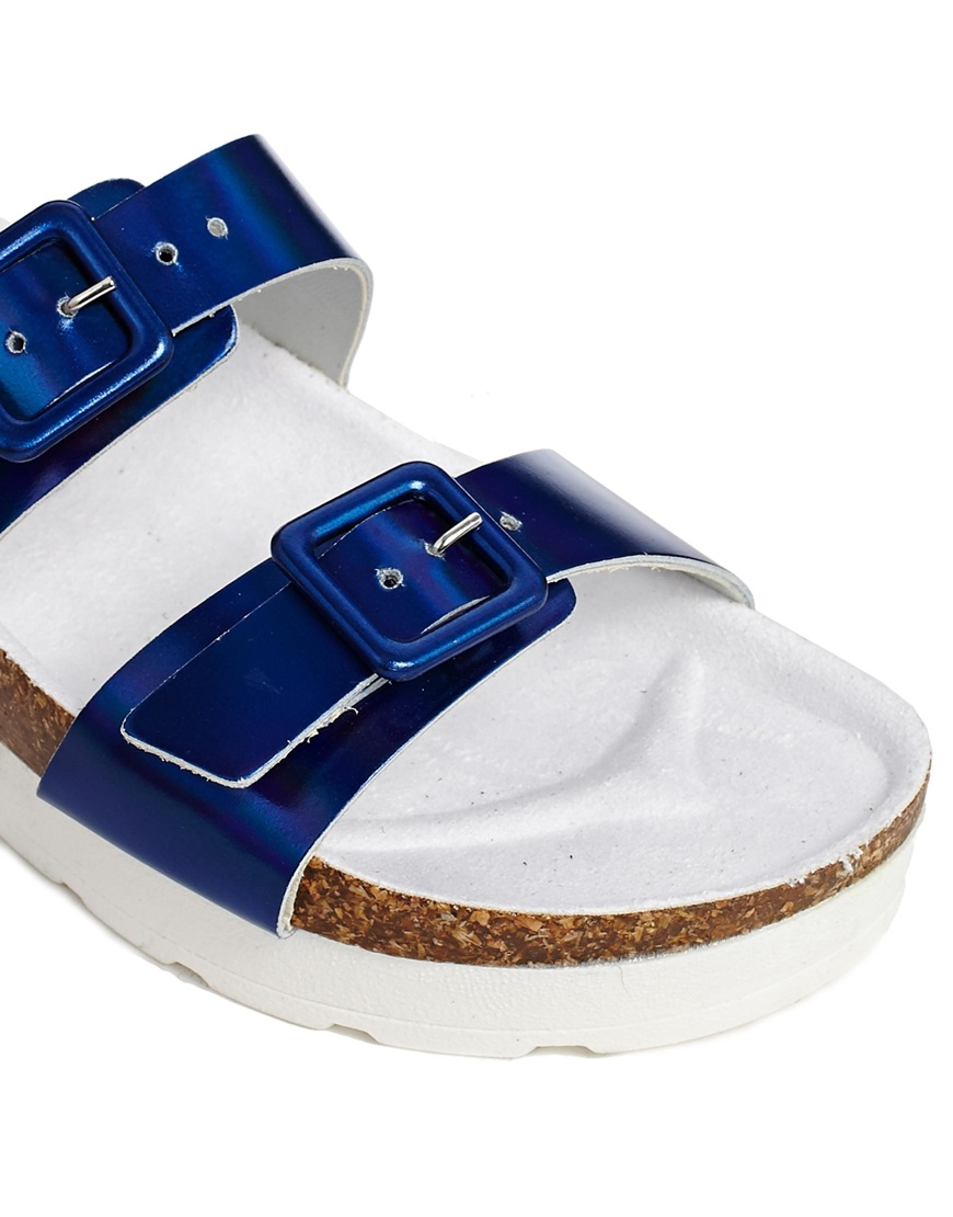 Asos Filthy Rich Leather Flatform Sliders In Blue Lyst