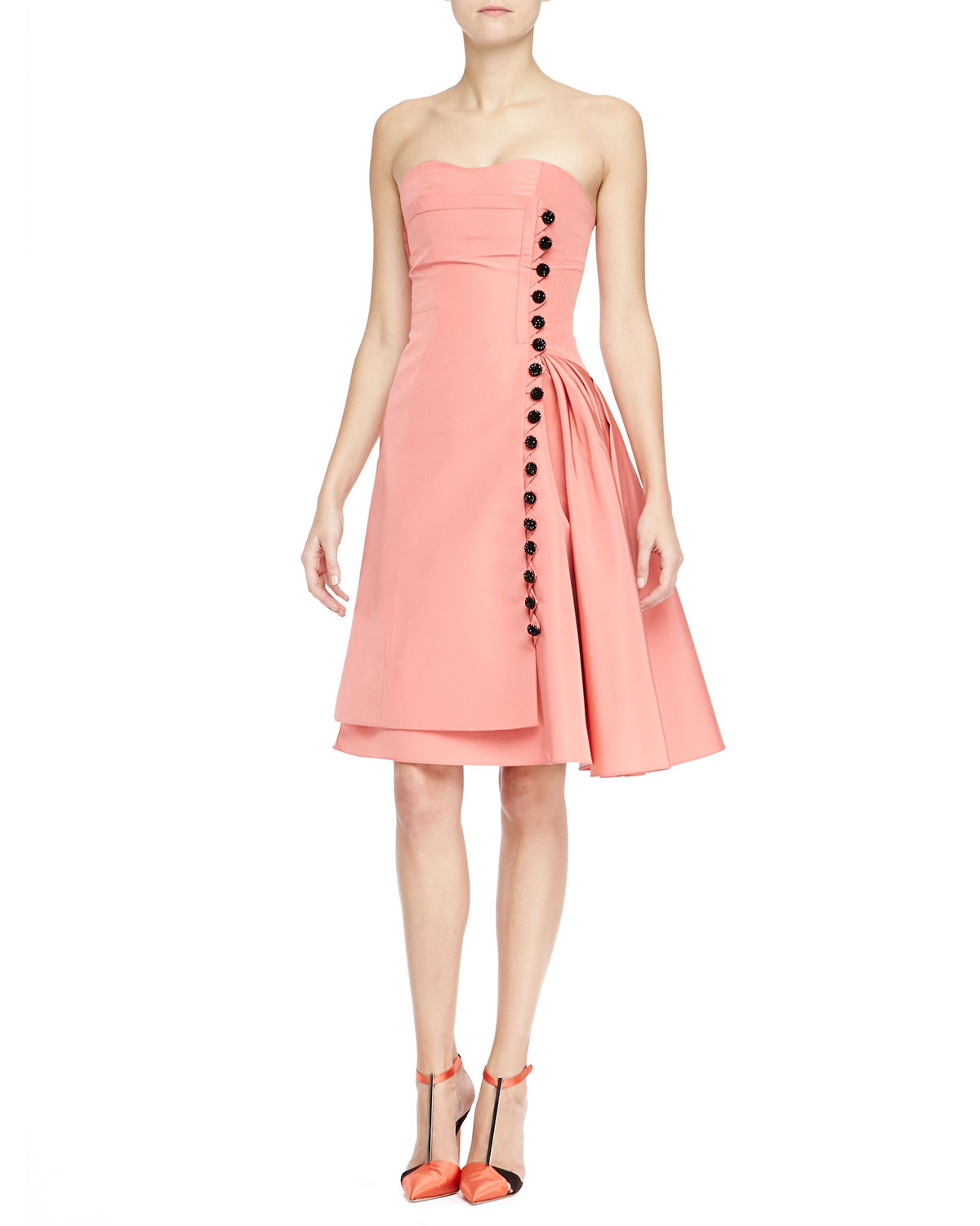 Lyst Carolina Herrera Strapless Taffeta Cocktail Dress