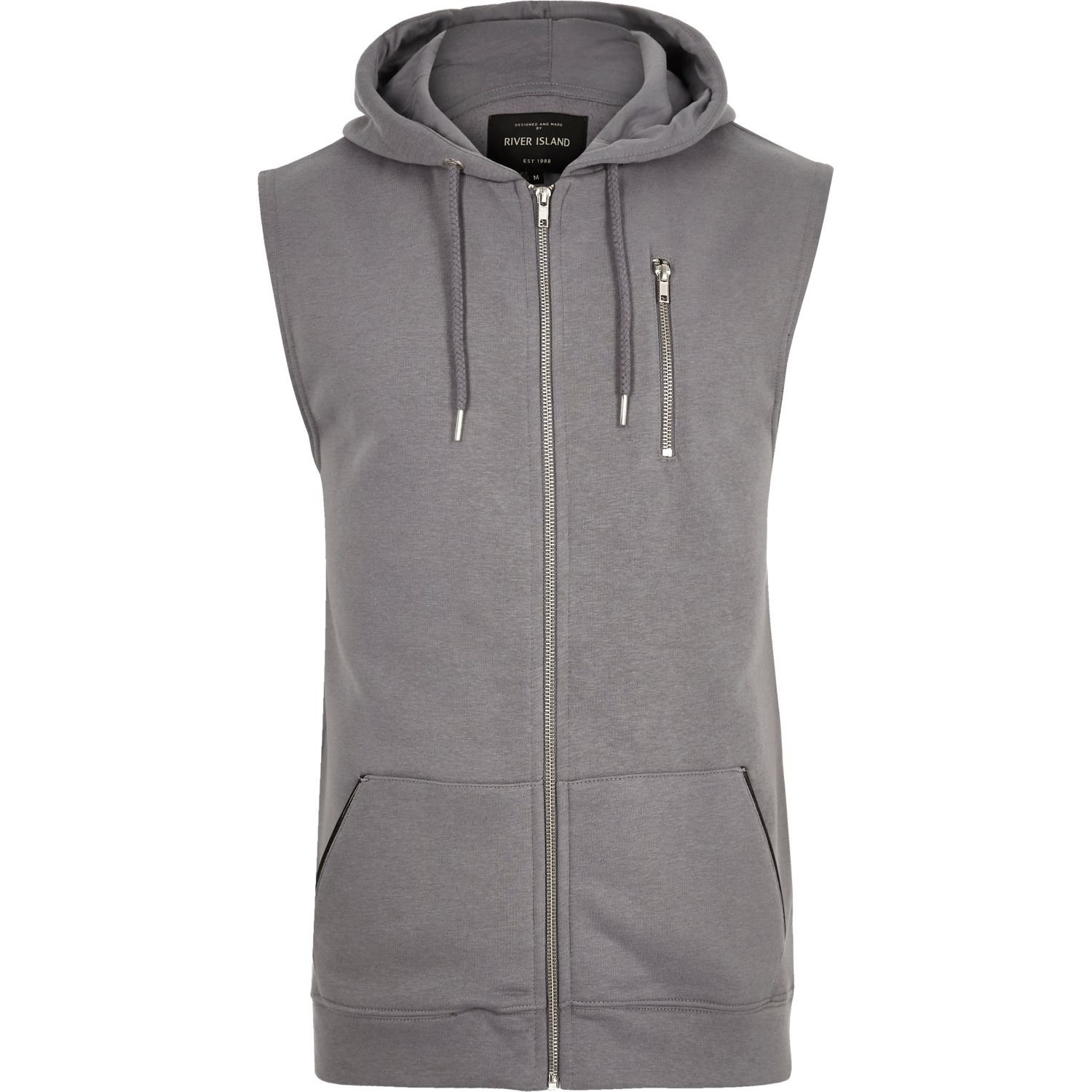 River island Grey Zip-up Sleeveless Hoodie in Gray for Men | Lyst