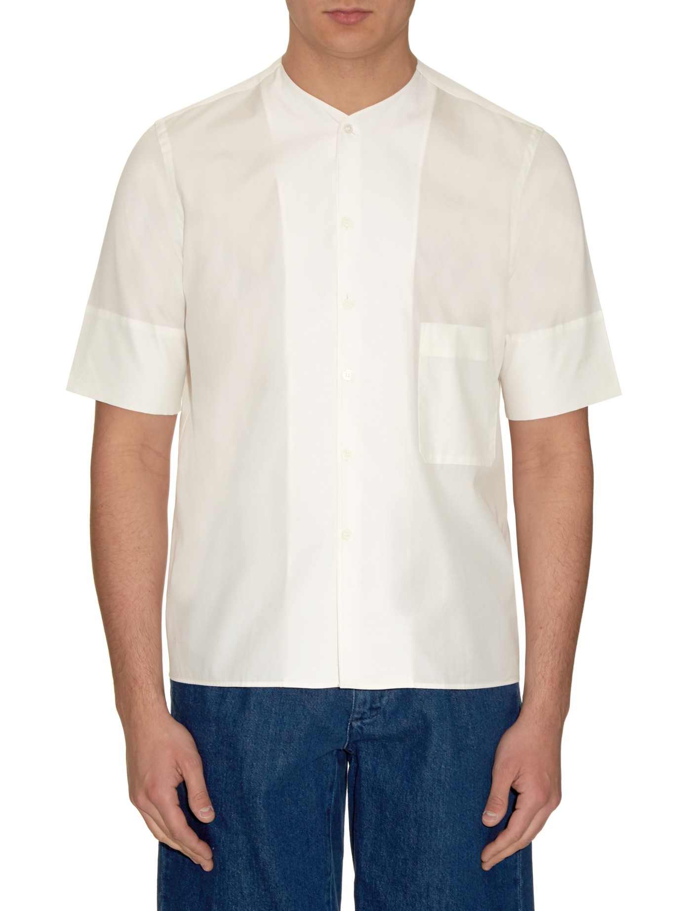Lemaire Collarless Cotton-poplin Shirt in White for Men | Lyst