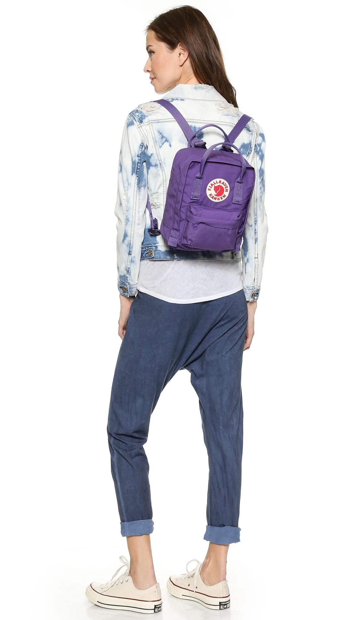 fjallraven kanken mini backpack purple in purple lyst. Black Bedroom Furniture Sets. Home Design Ideas