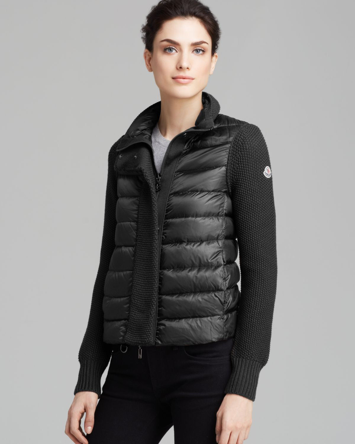Moncler Cardigan Maglione Textured Down In Black Lyst